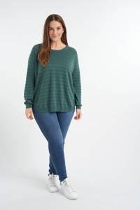 MS Mode fijngebreide trui donkergroen, Donkergroen
