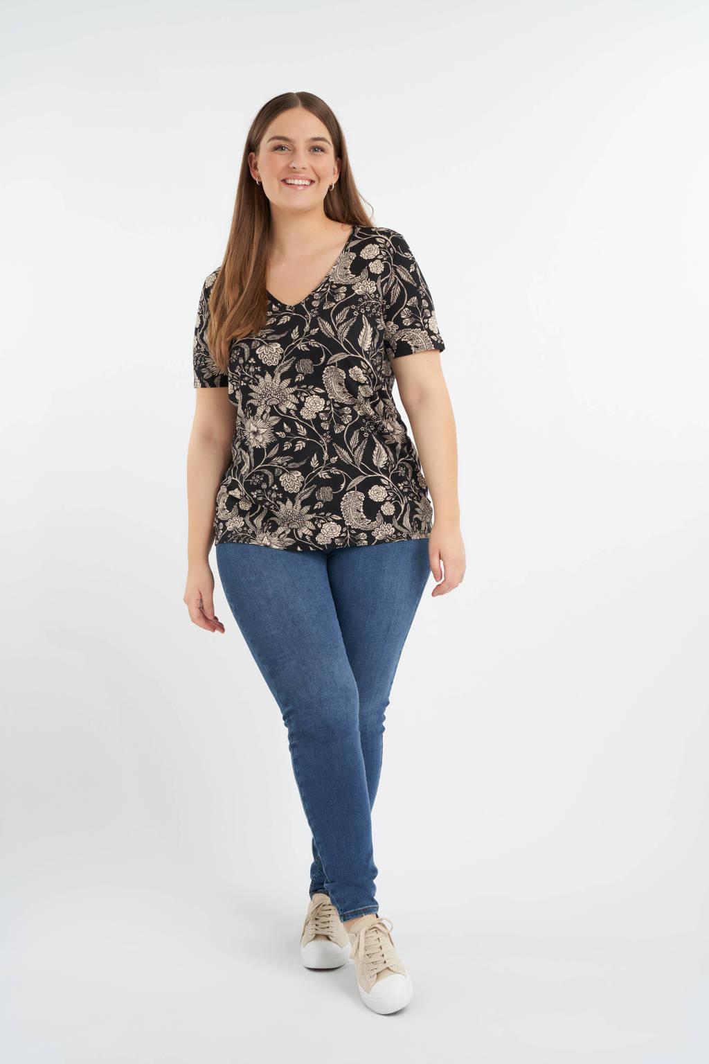 MS Mode gebloemd T-shirt zwart/lichtbruin, Zwart/lichtbruin