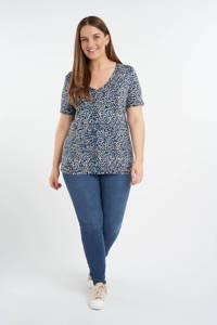 MS Mode T-shirt met all over print blauw/beige/zwart, Blauw/beige/zwart