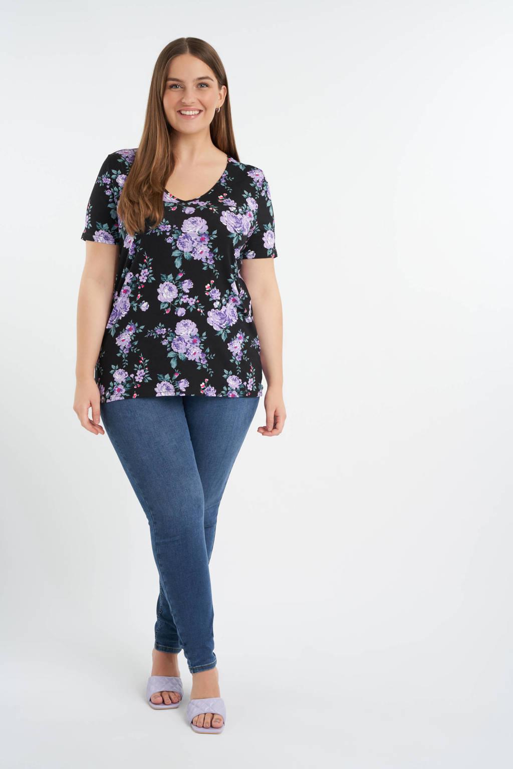 MS Mode gebloemd T-shirt zwart/paars/donkergroen, Zwart/paars/donkergroen