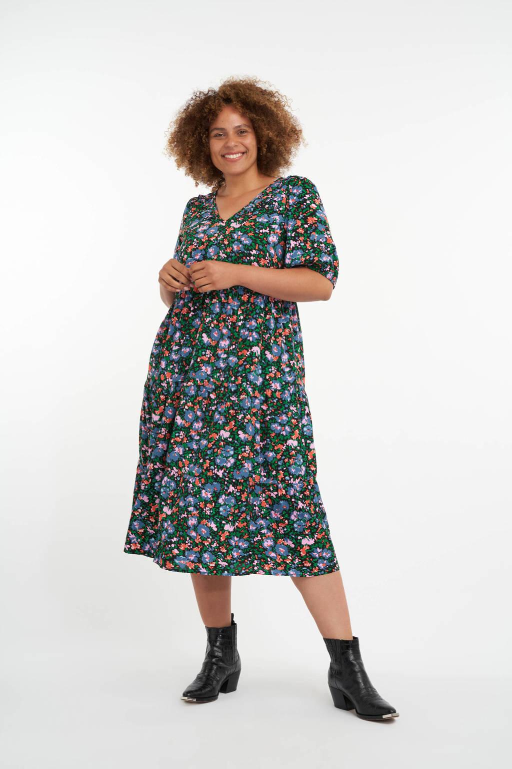 MS Mode gebloemde A-lijn jurk zwart/groen/koraalrood, Zwart/groen/koraalrood