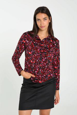 gebloemde blouse rood/zwart/roze