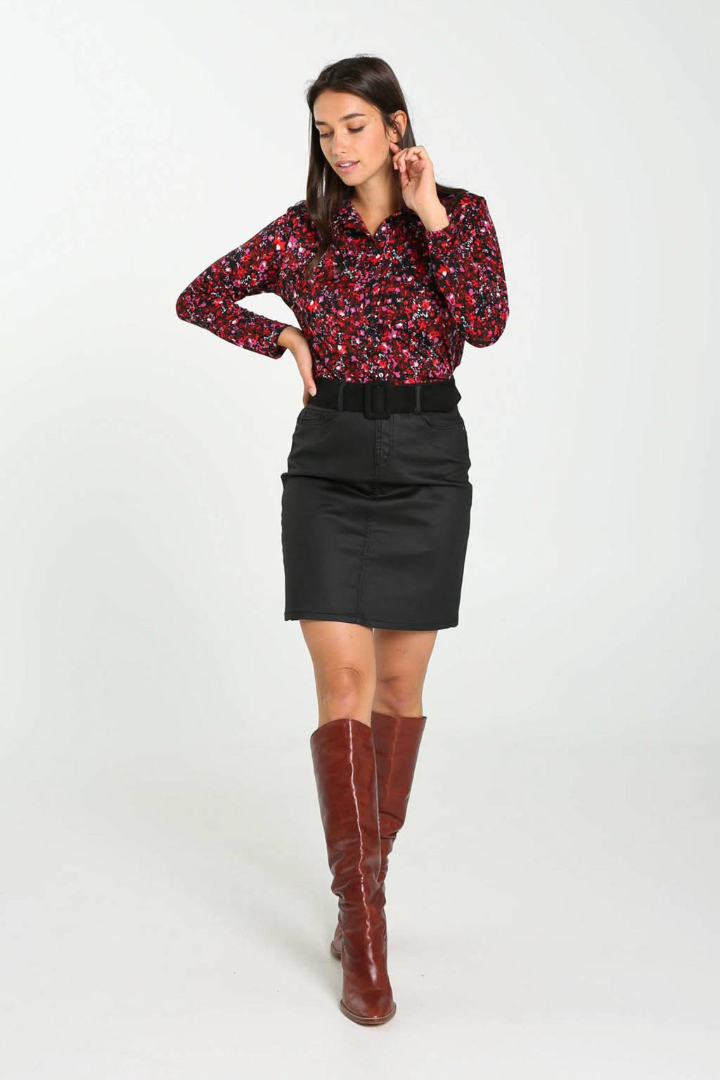 Cassis gebloemde blouse rood/zwart/roze, Rood/zwart/roze