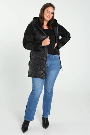 doorgestikte winterjas van twee stoffen zwart/grijs