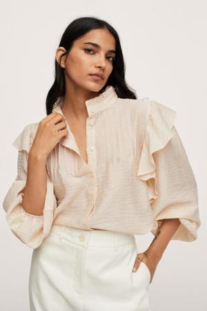 blouse met ruches beige
