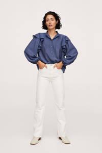 Mango blouse met ruches blauw, Blauw