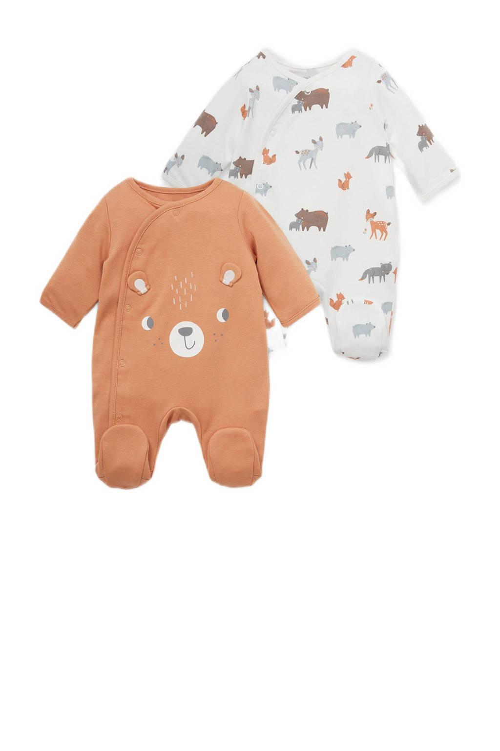 C&A Baby Newborn newborn boxpak - set van 2 oranje/wit, Terra/wit