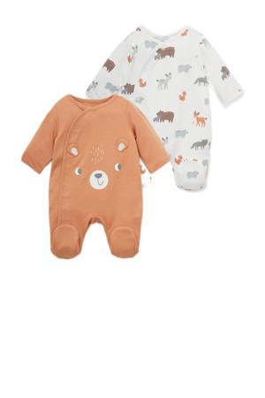 newborn boxpak - set van 2 oranje/wit