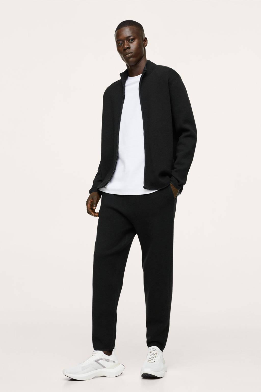 Mango Man regular fit broek zwart, Zwart