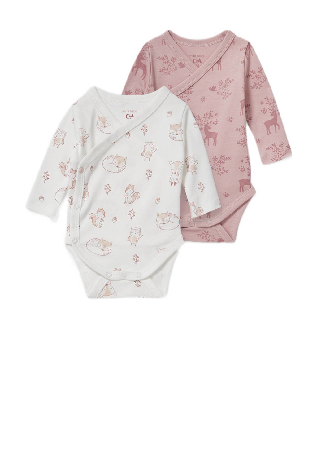 C&A Baby Newborn romper met overslag - set van 2 ecru/oudroze, Ecru/oudroze