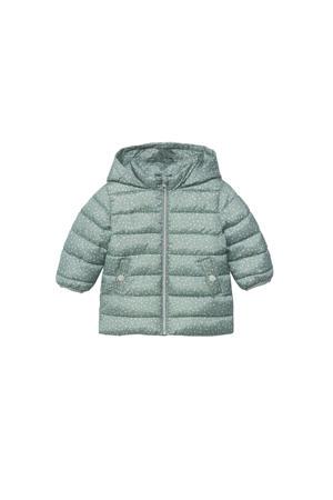 gewatteerde winterjas met all over print mintgroen/wit