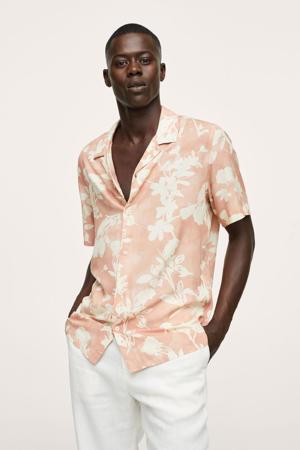 gebloemde regular fit overhemd pasteloranje