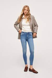 Mango regular waist skinny jeans raw edge blue denim, Blauw