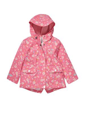 baby gebloemde regenjas roze