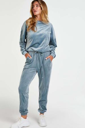 velours joggingbroek lichtblauw
