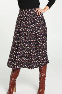 Cassis gebloemde midi rok zwart/wit/paars/rood, Zwart/wit/paars/rood
