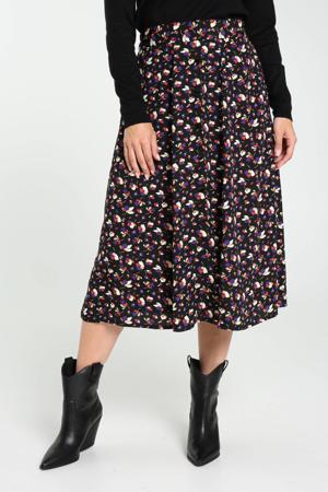 gebloemde midi rok zwart/wit/paars/rood