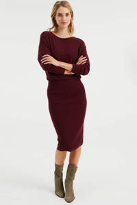 WE Fashion fijngebreide jurk met vleermuismouwen dark aubergine, Aubergine