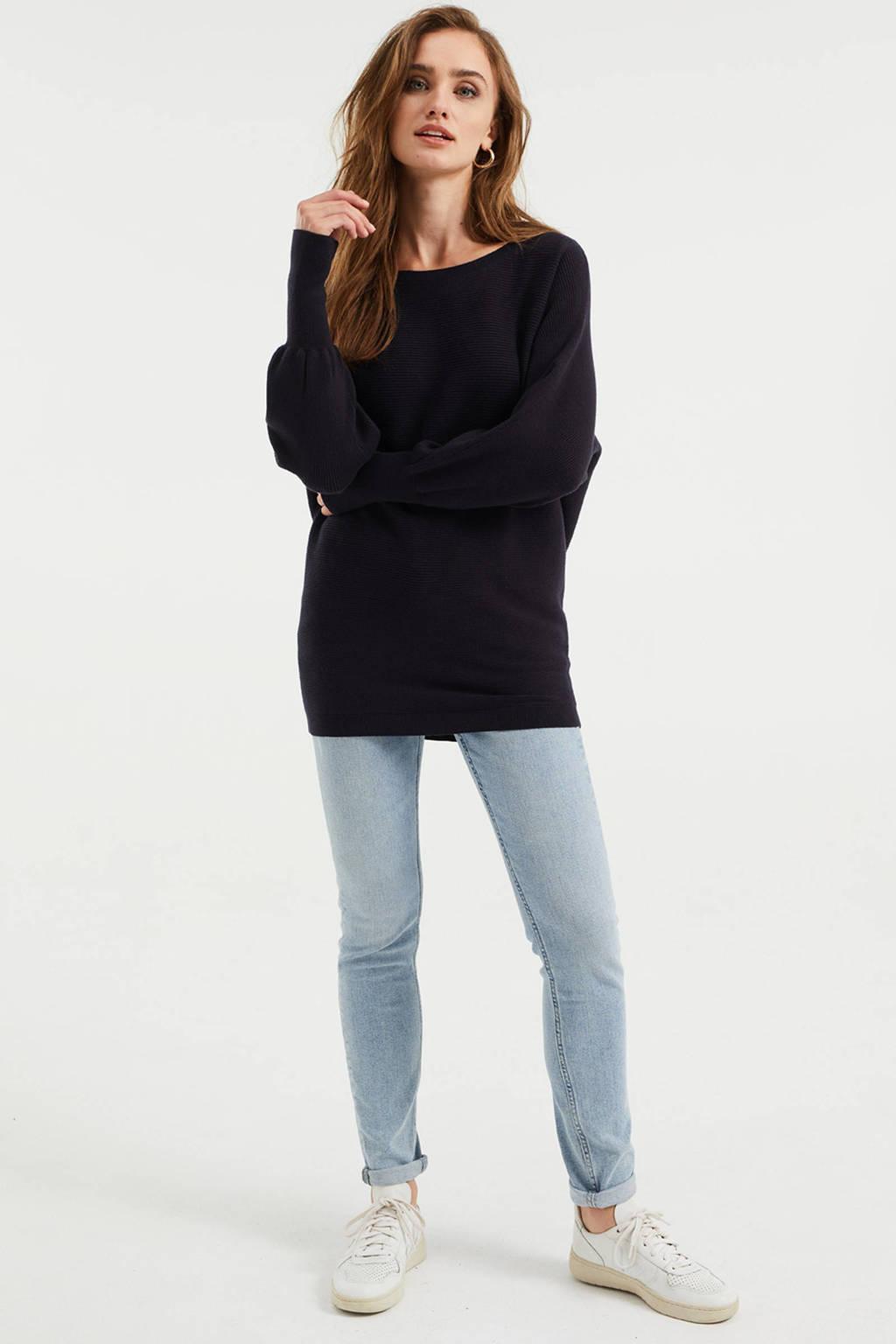 WE Fashion ribgebreide trui met vleermuismouwen donkerblauw, Donkerblauw