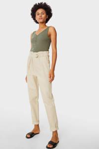C&A high waist tapered fit broek beige, Beige