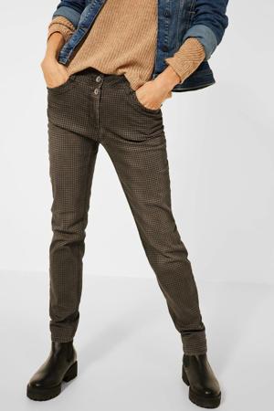 geruite regular fit jeans Gesa bruin/zwart