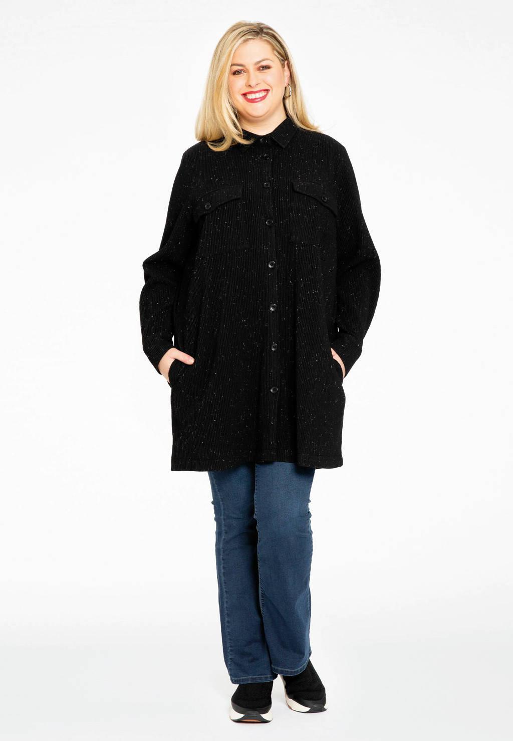 Yoek blouse met glitters zwart, Zwart