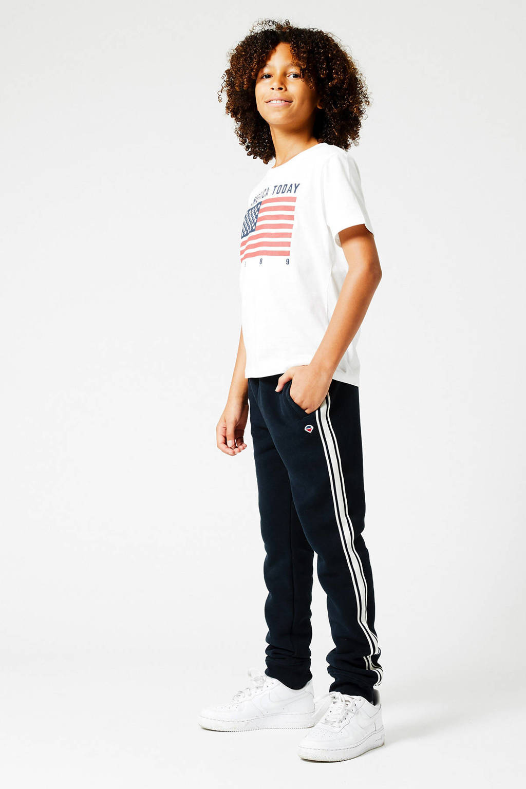 America Today Junior slim fit joggingbroek Conner Tape met zijstreep donkerblauw, Donkerblauw