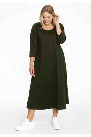 A-lijn jurk met plooien in katoen donkergroen