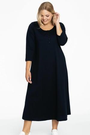 A-lijn jurk met plooien in katoen donkerblauw