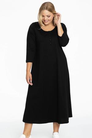 A-lijn jurk met plooien in katoen zwart