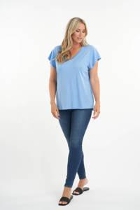 MS Mode T-shirt met volant lichtblauw, Lichtblauw
