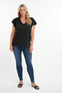 MS Mode T-shirt met volant zwart, Zwart