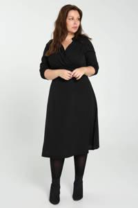PROMISS semi-transparante A-lijn jurk met plooien zwart, Zwart