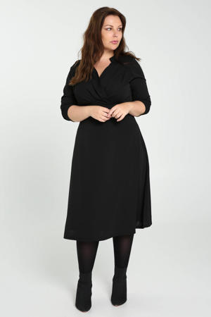 semi-transparante A-lijn jurk met plooien zwart