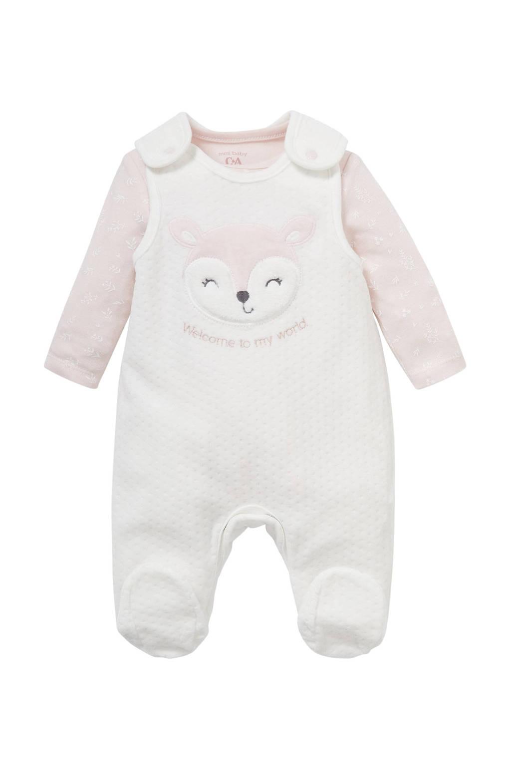 C&A Baby Newborn new born boxpak + romper wit/lichtroze, Wit/roze