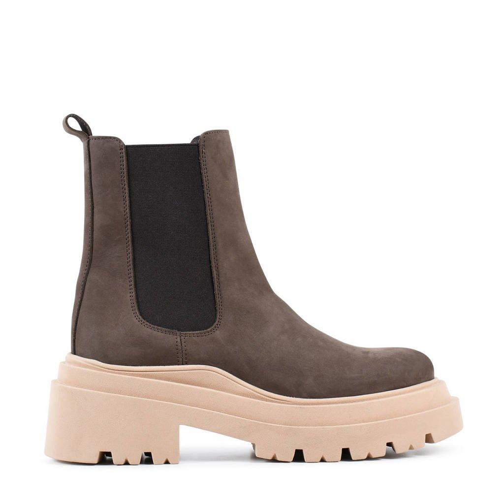 PS Poelman Lori  chunky nubuck chelsea boots donkerbruin, Donkerbruin