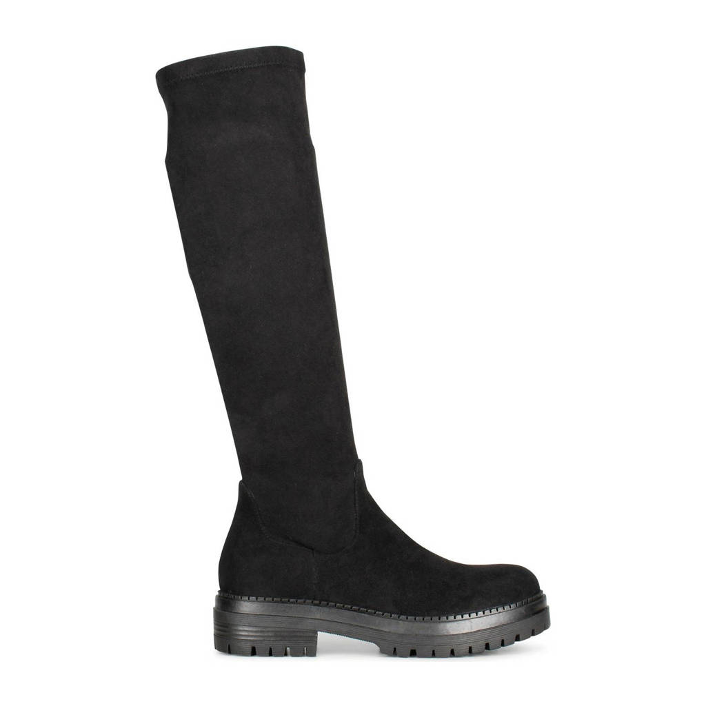 PS Poelman Cybele  hoge stretch laarzen zwart, Zwart