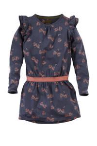 Z8 jurk Maegan met all over print en ruches donkerblauw/oranje, Donkerblauw/oranje