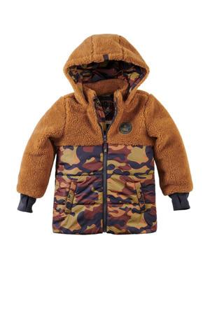gewatteerde winterjas Drake met camouflageprint bruin/donkerblauw/donkerrood
