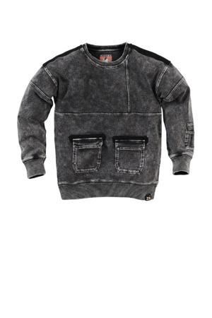 sweater Chiel W22 met contrastbies antraciet