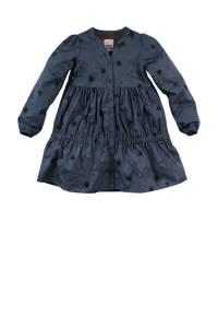Z8 jurk Norma met all over print en plooien donkerblauw, Donkerblauw
