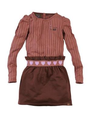 ribgebreide jurk Sannah met plooien roestbruin/donkerbruin/lila