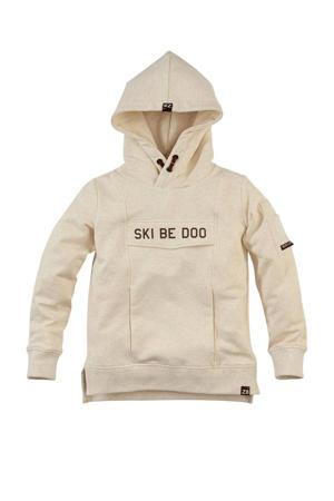 sweater Stefan W22 met tekst beige melange