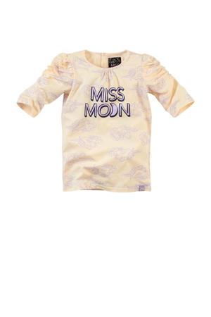 T-shirt Alley met tekst en plooien zand/lila/zwart