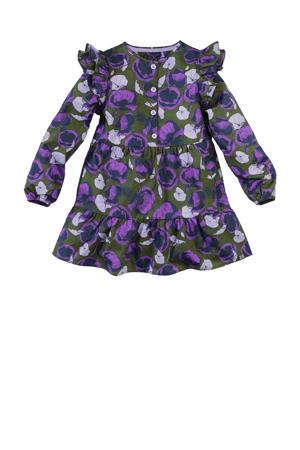 jurk Zora met all over print en ruches army groen/paars/donkerblauw