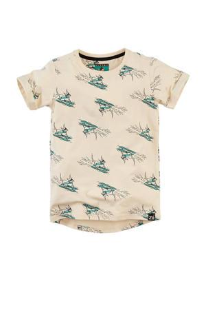 T-shirt Danni met all over print beige/groen