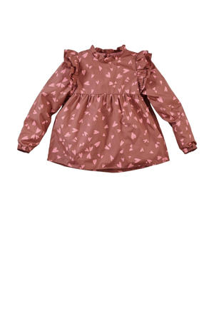 longsleeve Lilly W22 met all over print en ruches roestbruin/roze
