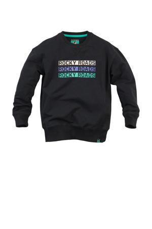 sweater Joel met tekst zwart