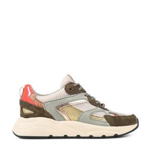 Cibel  leren sneakers olijfgroen/multi
