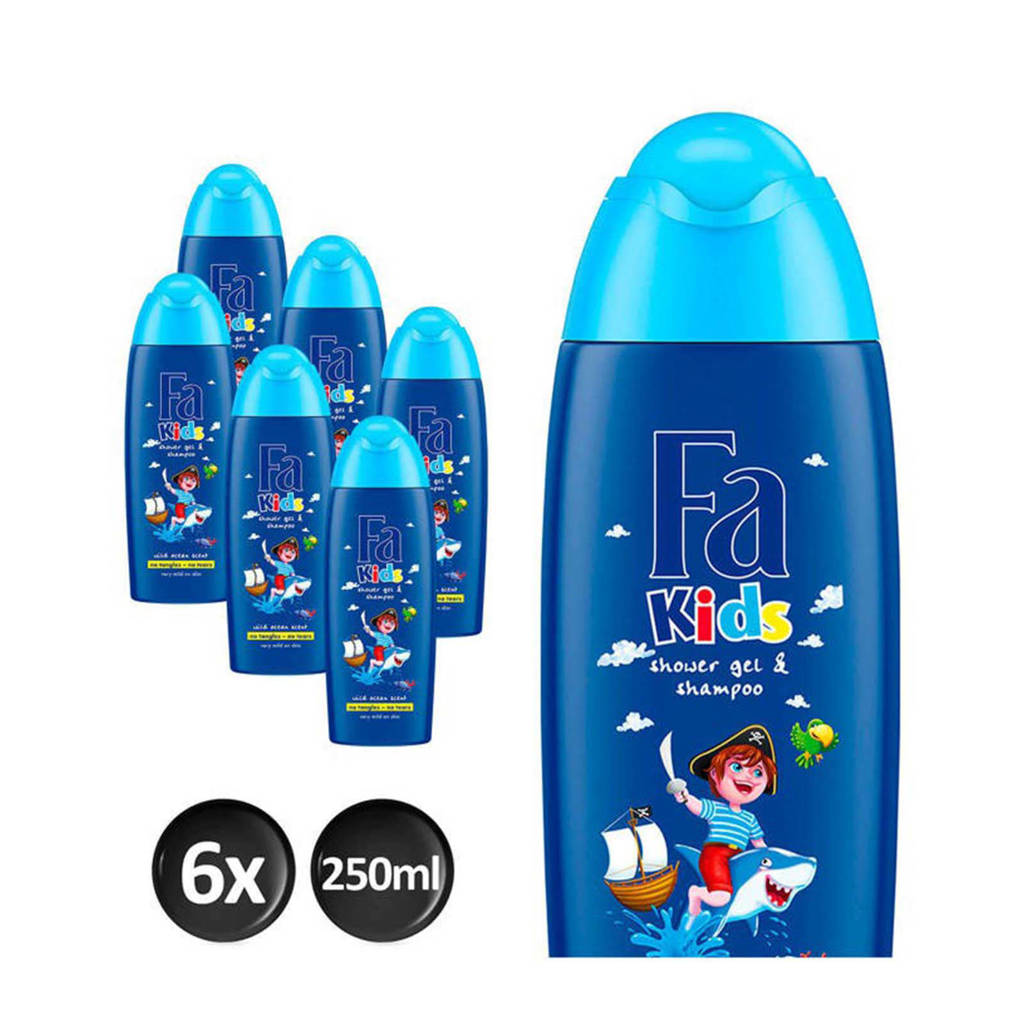 Fa Kids Douche & Shampoo Pirate - 6x 250ml multiverpakking